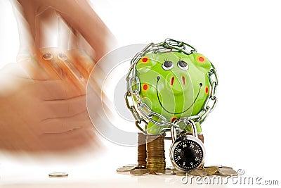 Locked piggy bank theft