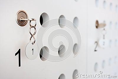 Locker door with key