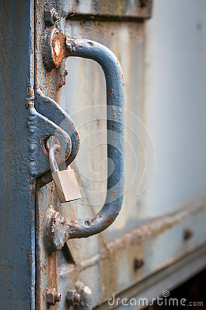 Locker securing old heavy iron door