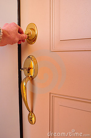 Free Locking A Dead Bolt Stock Image - 12182011