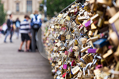 Locks of Pont Des Arts in Paris, France - Love Bridge Editorial Stock Image