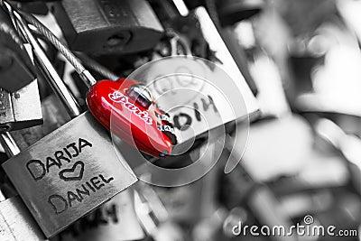 Locks of Pont Des Arts in Paris, France - Love Bridge Editorial Photo