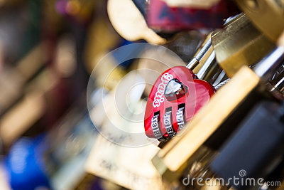 Locks of Pont Des Arts in Paris, France - Love Bridge Editorial Photography