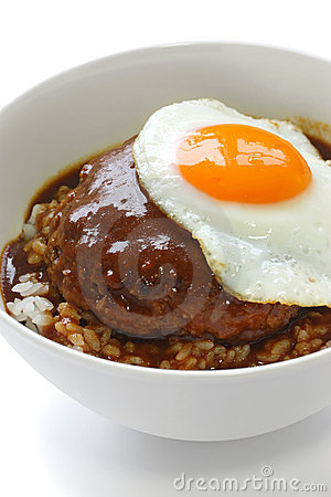 Loco moco , hawaiian rice bowl dish