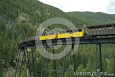 Locomotive and Boxcars on Trestle Bridge 2 Editorial Stock Photo