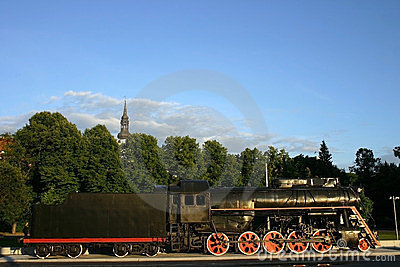 Locomotive old with the hook-on car