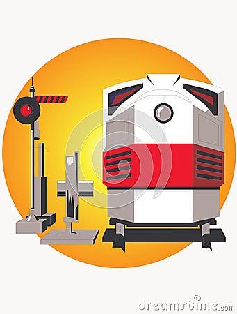Locomotive and semaphore