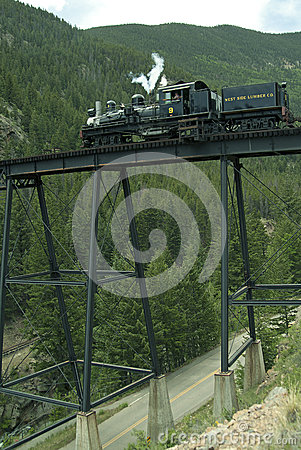 Locomotive on Trestle Bridge Editorial Image