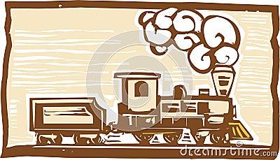 Locomotive Woodcut