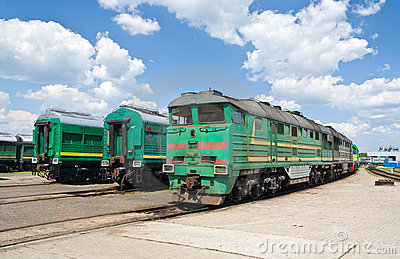Locomotives in the depot