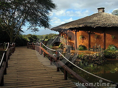 the safari lodge by the wooden bridge in Kenya