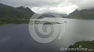 Lofoten halvö och fjordantenn stock video