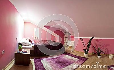 Loft bedroom panorama