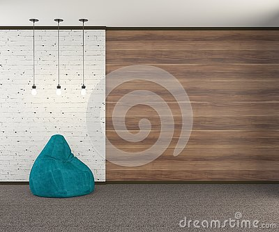A loft-style wall with a turquoise armchair and three light bulbs . 3D rendering. Stock Photo