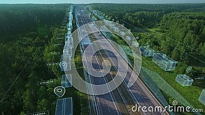 Logística, entrega e transporte de mercadorias e encomendas por meios de transporte, furgões e caminhões Vista aérea na autoestra vídeos de arquivo