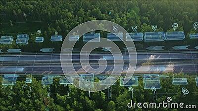 Logística, entrega e transporte de mercadorias e encomendas por meios de transporte, furgões e caminhões Vista aérea na autoestra ilustração stock