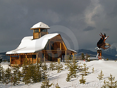 Log Cabin and Eagle Sculpture