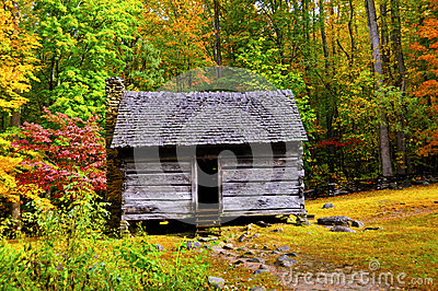 Log Cabin in Fall
