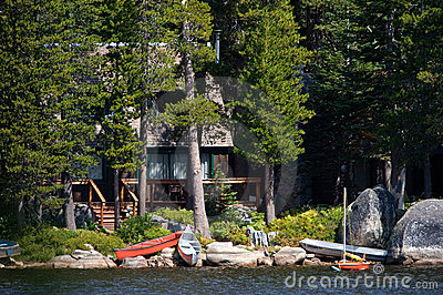 Log cabin by lake