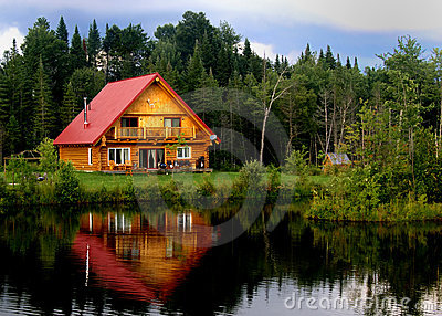 Log Cabin On A Lake