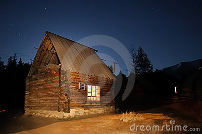 Log Cabin at Night