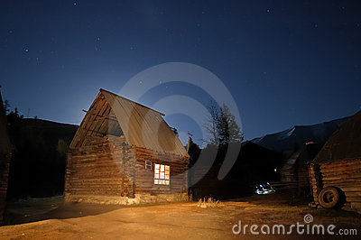 Log Cabin at Starry Night