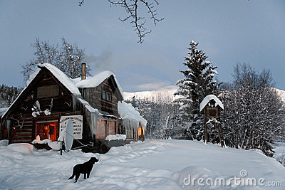 Log Cabin in the wilds with black dog
