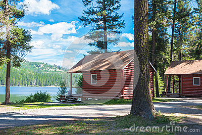 Log Cabins in Forest and on Lake
