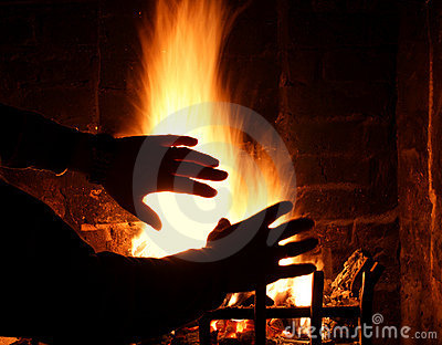 Log fire and warm hands.