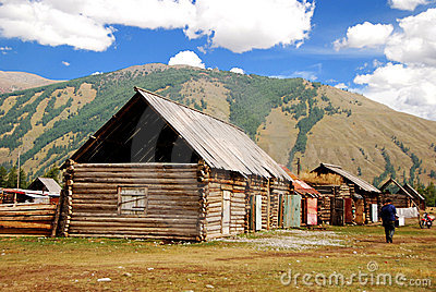 Log house in Altai mountain, Urumqi, Xinjiang