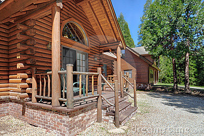 Log house porch