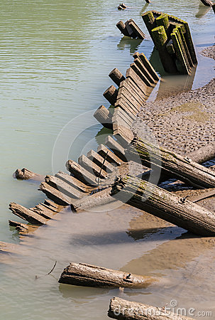 Log Piles Leaning into Water
