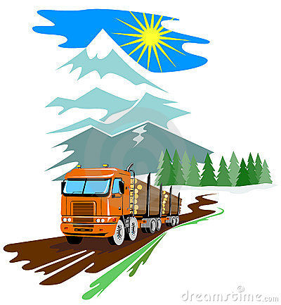 Logging Truck with mountains