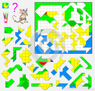 Free Logic Puzzle Game. Need To Find The Correct Place For Each Detail And Paint Them In Corresponding Colors. Stock Image - 85986901