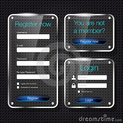 Login and register glass web forms