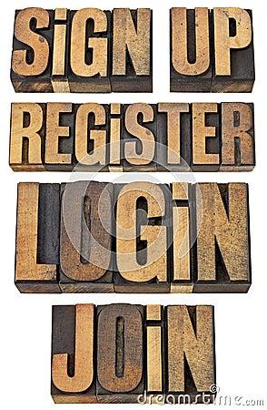Login, register, treedt omhoog toe, ondertekent