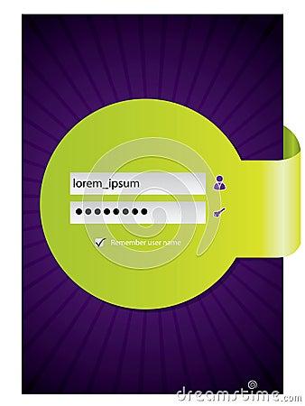 Login screen design with green ribbon
