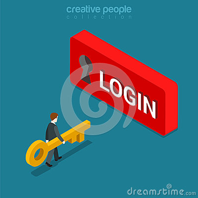 Free Login Sign In Button Keyhole Key Flat Isometric Vector 3d Stock Photography - 66198182
