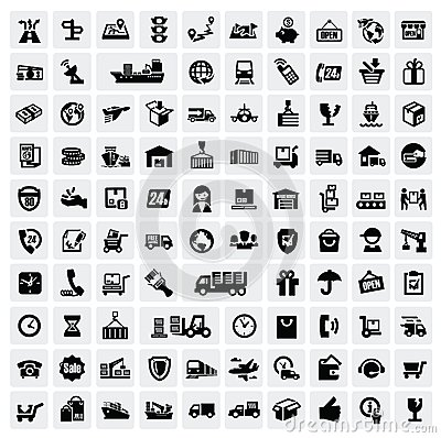 Free Logistic And Shipping Icons Stock Photos - 28116393
