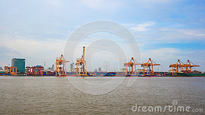 Logistic concept, container cargo ship transport