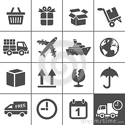 Logistics icons set. Simplus series
