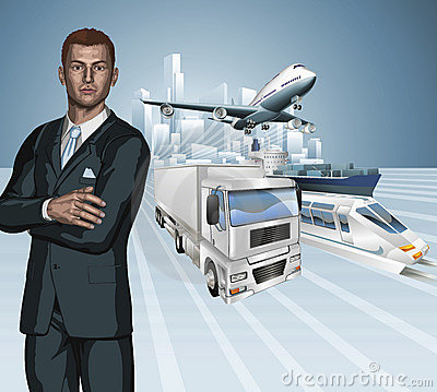 Logistics business man concept background
