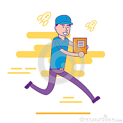 Free Logistics Company Courier Or Delivery Man Character Running In A Royalty Free Stock Images - 87619609