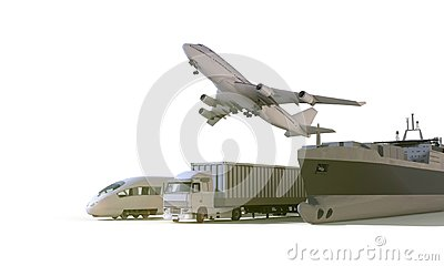 Logistics and transportation truck ,High speed train, Boat in freight cargo plane on isolate Background Stock Photo