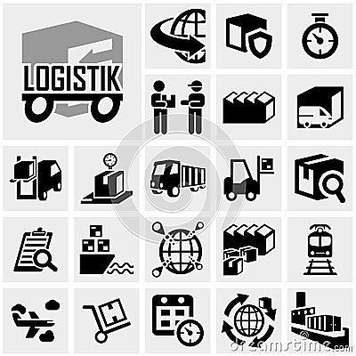 Logistics vector icon set on gray