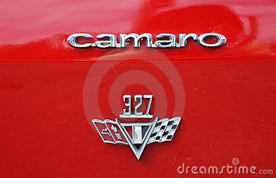 Logo of 1967 Chevrolet Camaro antique car Editorial Photography