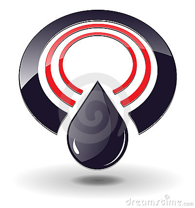 Logo 3D circle and black oil drop.