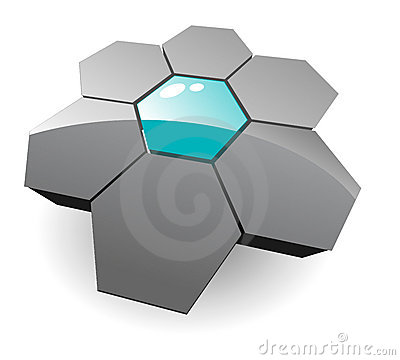 Logo 3d hexagons