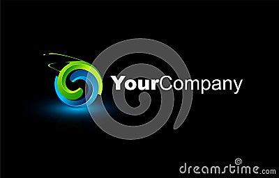 Logo 3D rougeoyant abstrait