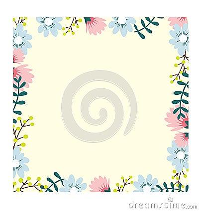 Beautiful flower frame Vector Illustration